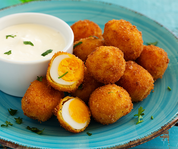 Photo of - Cheese Crusted Party Eggs