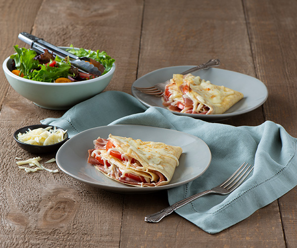 Photo of - Whole Wheat Crêpes with Prosciutto and Friulano Cheese