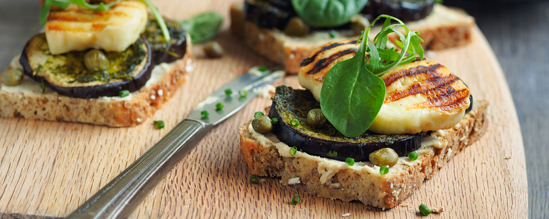 Photo for - Roasted Vegetable Tartine with Arugula Pesto and Grilled Halloumi