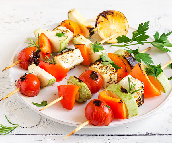Photo of - Grilled Vegetable and Salerno Halloumi Satay with Basil Infused oil and Aged Balsamic